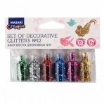 Набор блёсток декоративных № 12, 6 цветов х 2 г, стеклянная колба / ОПП-упаковка