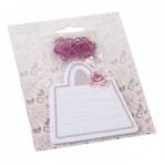 Канцелярский набор: бумага для заметок с клеевым краем, 30 листов; скрепки из черного металла с ПЭТ покрытием, 6шт. Сумка с розой. / 11x13см арт.76732