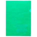 Папка-Уголок Пластиковая А4ф с карманом для визитки Hatber 180мкм Зеленая (без ед штрихкода)
