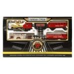 Ж/д Голубая стрела, 580см, локомотив, тендер, вагон, свет, дым. Элементы питания в комплект не входят.