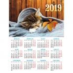Календарь настенный листовой  А2ф 45х60см на 2019г с укрупненой сеткой-Котенок-