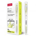 Текстовыделитель Hatber Hi-Lens Двухсторонний 1 mm/5 mm Желтый 12шт. в картонной коробке