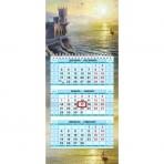 Календарь квартальный 3-х блоч. на 1 гребне МИНИ-1 с бегунком цветная подложка на 2019г -Морской вид- в индив.упак.