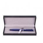 Ручка шариковая с поворотным механизмом YORK BLS в подарочной упаковке , СИНЯЯ, чернила на масляной основе, пулевидный пиш. узел 0.7 мм, синий металлический корпус с серебристыми деталями, сменный стержень 97 мм типа Parker