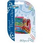 Скрепки канцелярские цветные с виниловым покрытием 28мм; 80 штук в блистре.