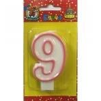 """Свеча для торта с розовой окантовкой Цифра """"9""""  С-1193"""