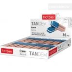 Ластик из термопластичной резины Hatber Tandem Bright 42x14x8мм 36шт в картонной Дисплей-витрине